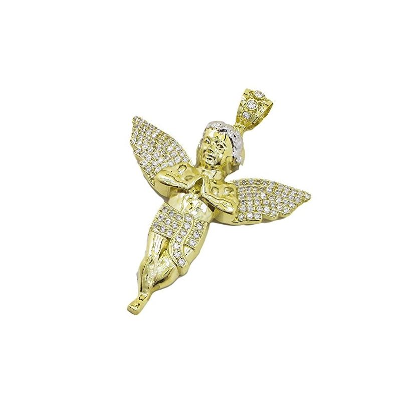 Mens 10k Yellow Gold Praying Angel Cheru 77842 1