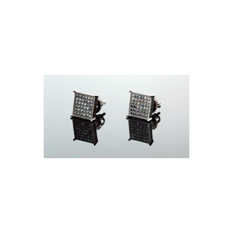 .925 Sterling Silver Black Square Black  58406 1