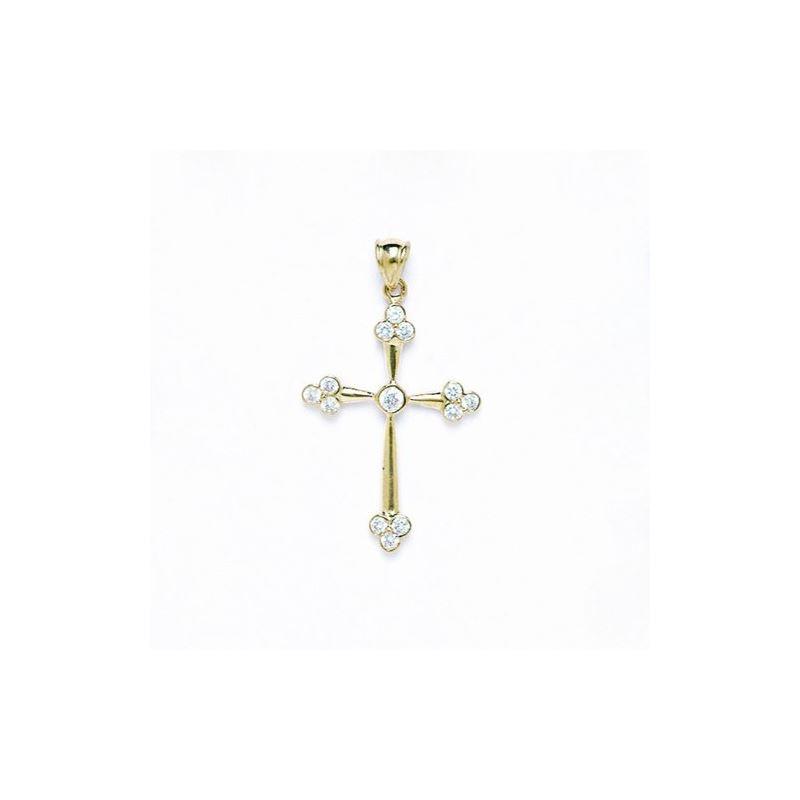 14K Gold Cross Pendant CZ P53 63505 1