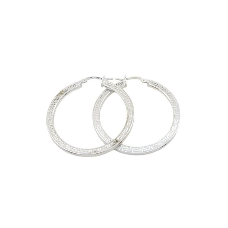 Round greek key hoop earring SB88 28mm t 79397 1