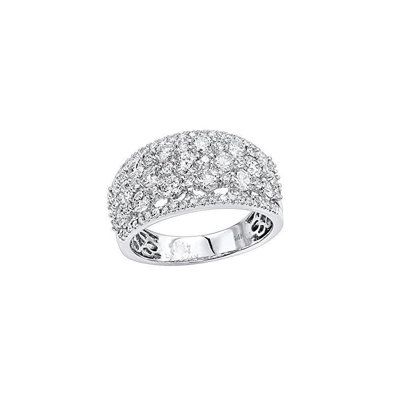 14K Gold Designer Diamond Wedding Band Ladies Ring