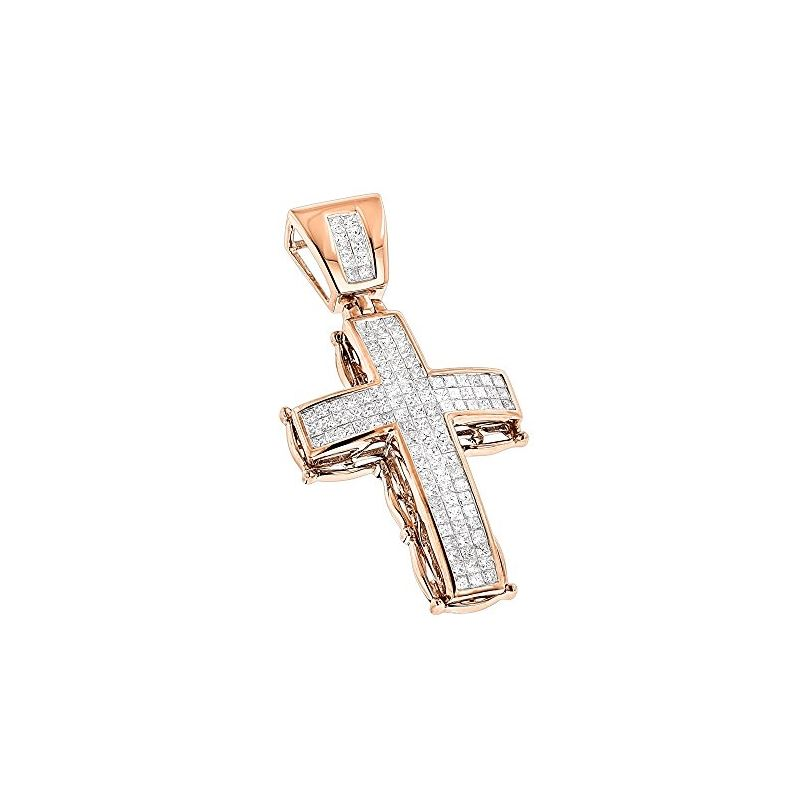 Unisex 14K Mens Cross Pendant With Princess Cut Na
