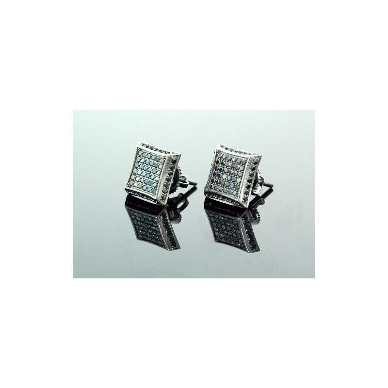 .925 Sterling Silver Black Square Black  58418 1