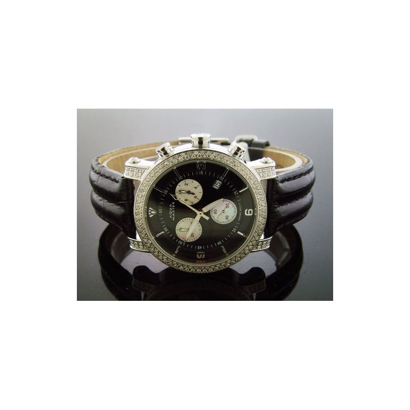 1.75Ct 37Mm Round Diamonds Watch Black Leather Ban