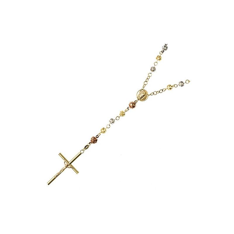 14K 3 TONE Gold HOLLOW ROSARY Chain - 28 63371 1