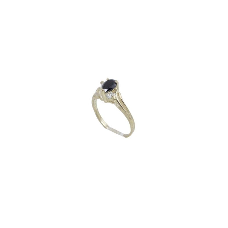 10k Yellow Gold Syntetic black gemstone  62015 1