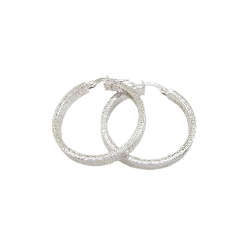 Round greek key hoop earring SB89 31mm t 79403 1