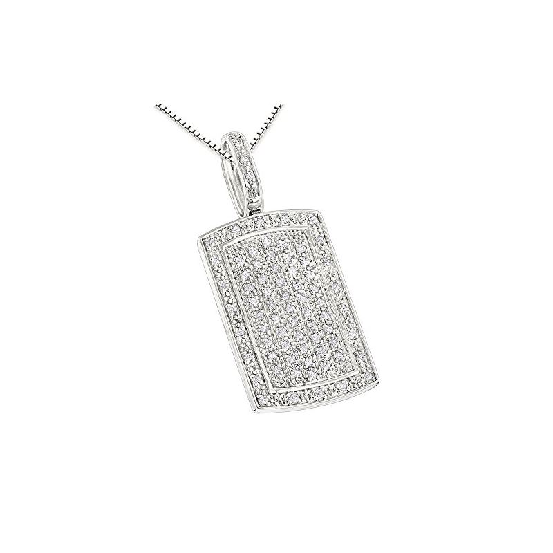 Small Dog Tag Pendant with Diamonds Ster 79942 1