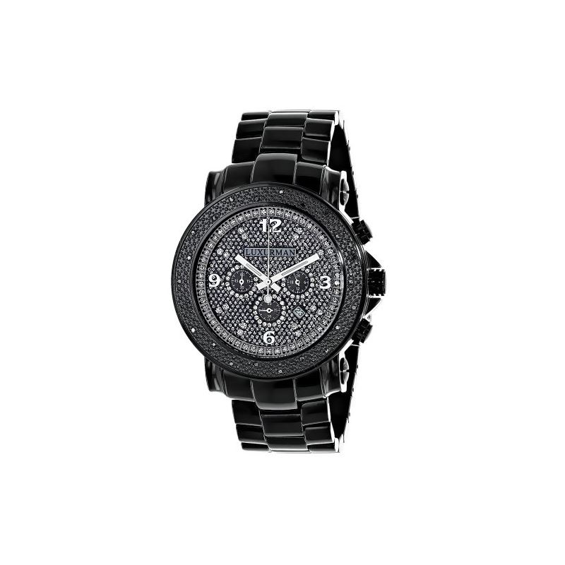 Mens Diamond Black Watch 0.25Ct Oversized Watch Es