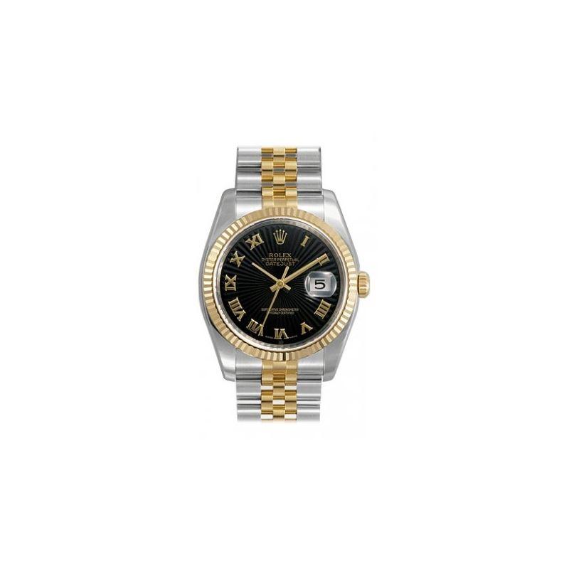 Rolex Datejust Black Sunburst Roman Dial 53802 1