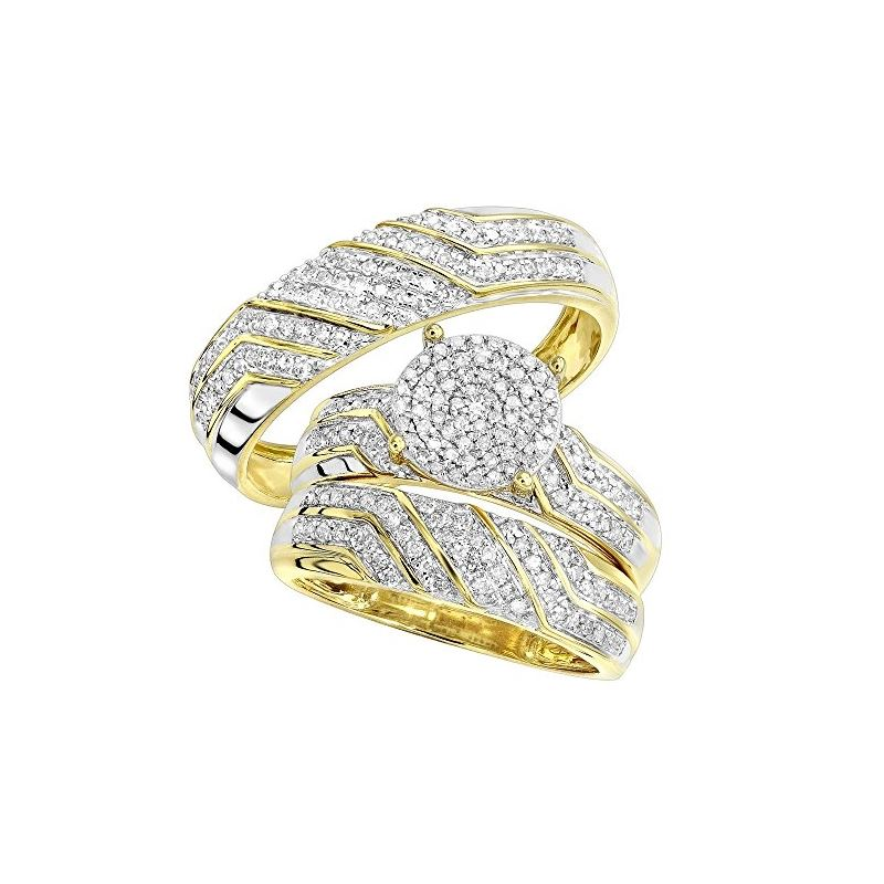 10K Gold Round Diamond Engagement Ring Wedding Ban
