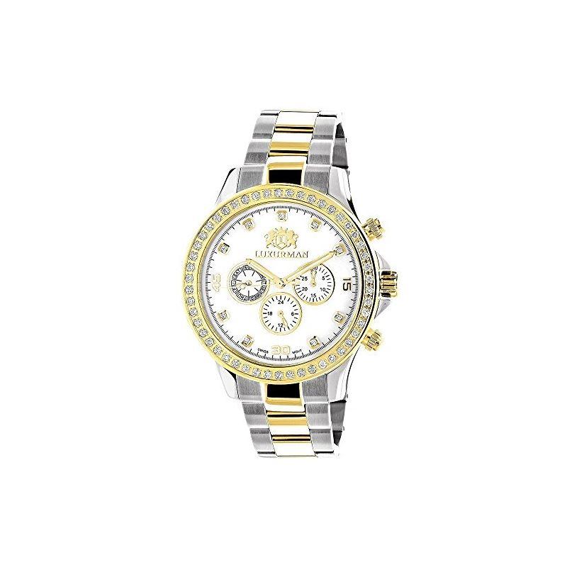 Mens Diamond Watches Two Tone 18K White Yellow Gol