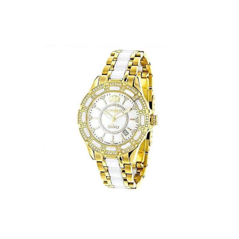 Luxurman Ladies Real Diamond Ceramic Wat 90207 1