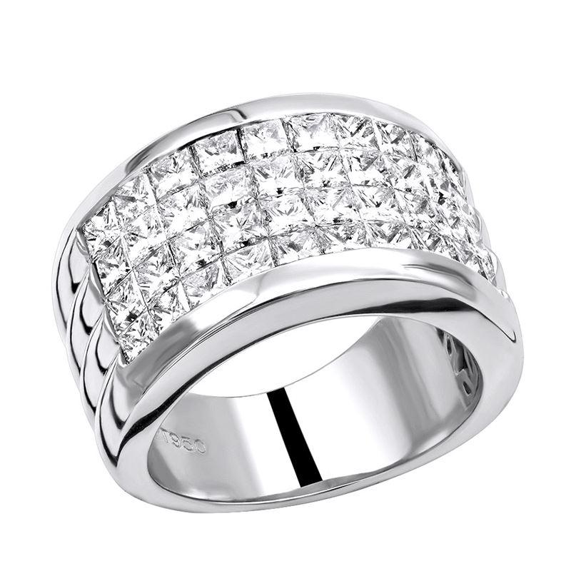 Platinum Ring Invisible Set Princess Cut Diamond W