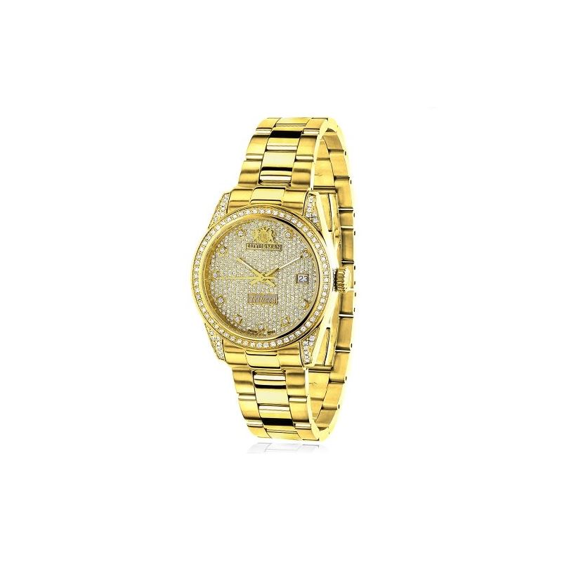Iced Out Ladies Real Diamond Yellow Gold 89889 1