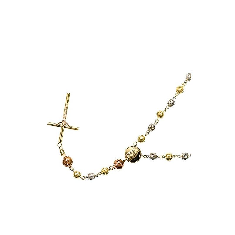 10K 3 TONE Gold HOLLOW ROSARY Chain - 28 59549 1