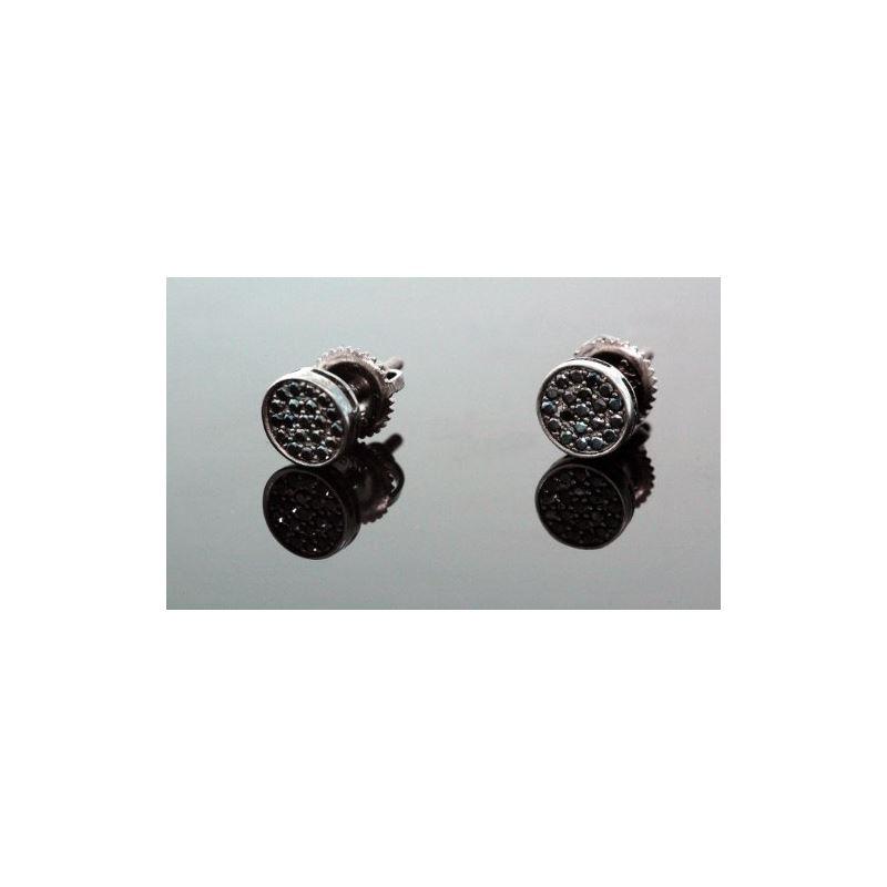 .925 Sterling Silver Black Circle Black  58350 1