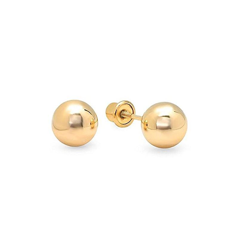 14k Yellow Gold Ball Stud Earrings Screw 67097 1