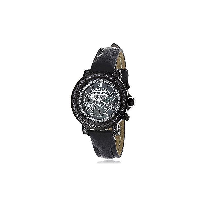 Ladies Large Black Real Diamond Watch 2. 89949 1