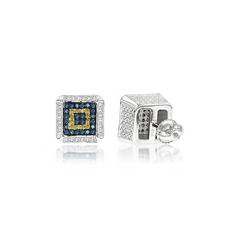 Square Diamond Earrings Studs Yellow Blu 80164 1