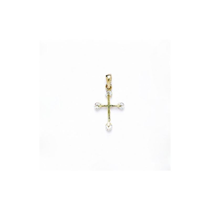 14K Gold Cross Pendant CZ P45 63497 1