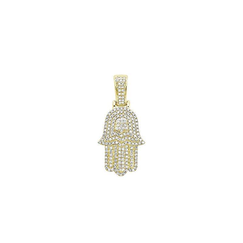 Jewish Jewelry: Small 14K Gold Diamond Hamsa Hand