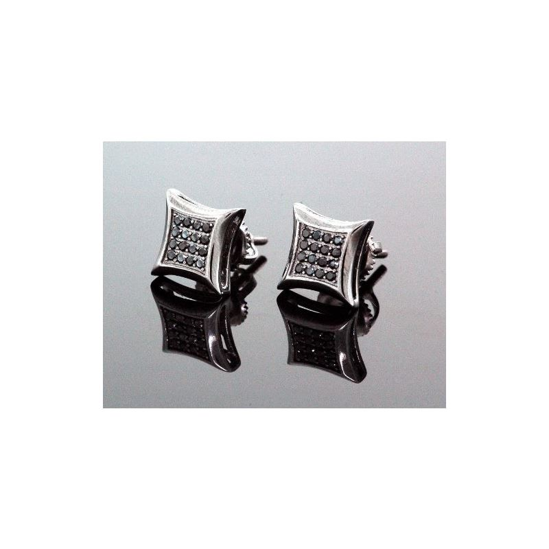 .925 Sterling Silver Black Square Black  58436 1