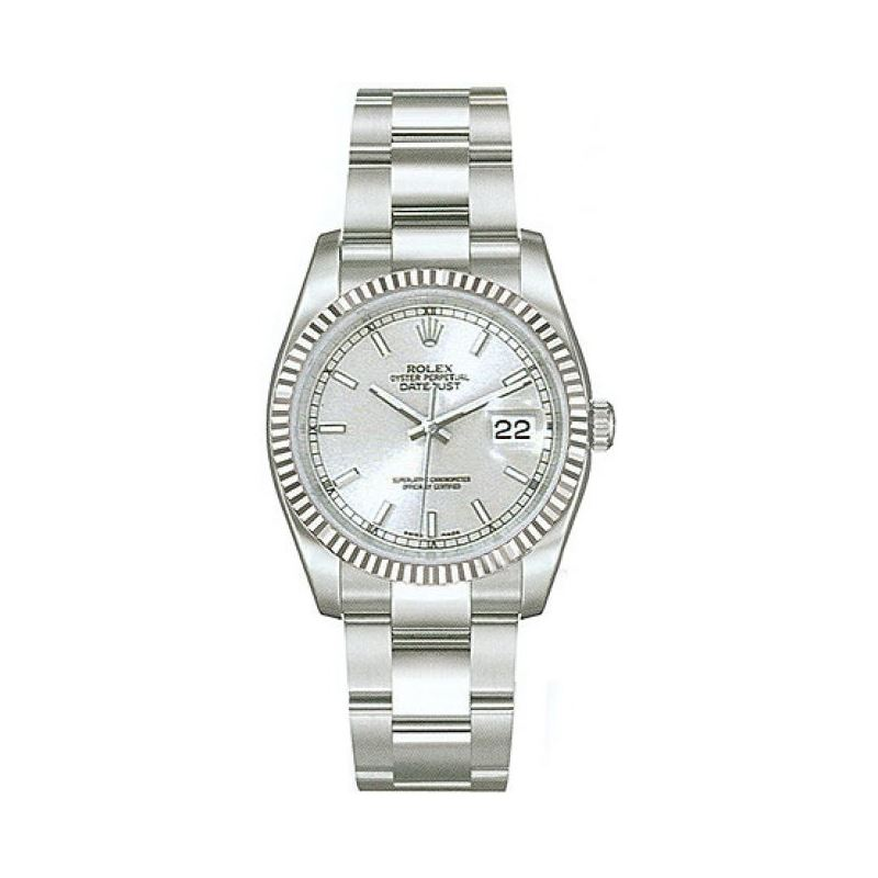 Rolex Datejust Silver Index Dial 18k Whi 53787 1