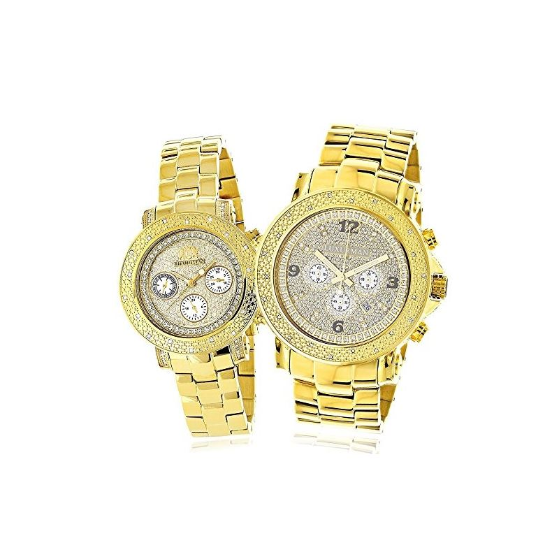 Large His And Hers Watches: Yellow Gold Plated Dia