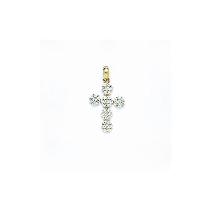 14K Gold Cross Pendant CZ P51 63503 1