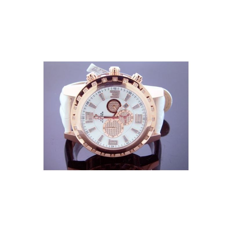 Round 50Mm 24 Diamonds Watch Stainless Steel Rose