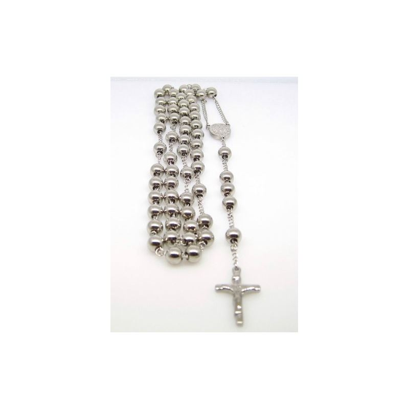 Mens Stainless Steel Silver Tone Rosary  78813 1