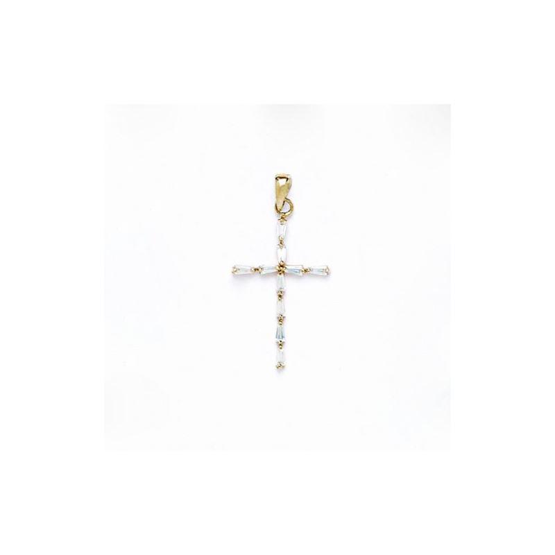 14K Gold Cross Pendant CZ P49 63501 1