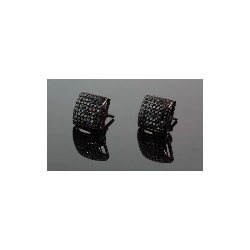 .925 Sterling Silver Black Square Black  58427 1
