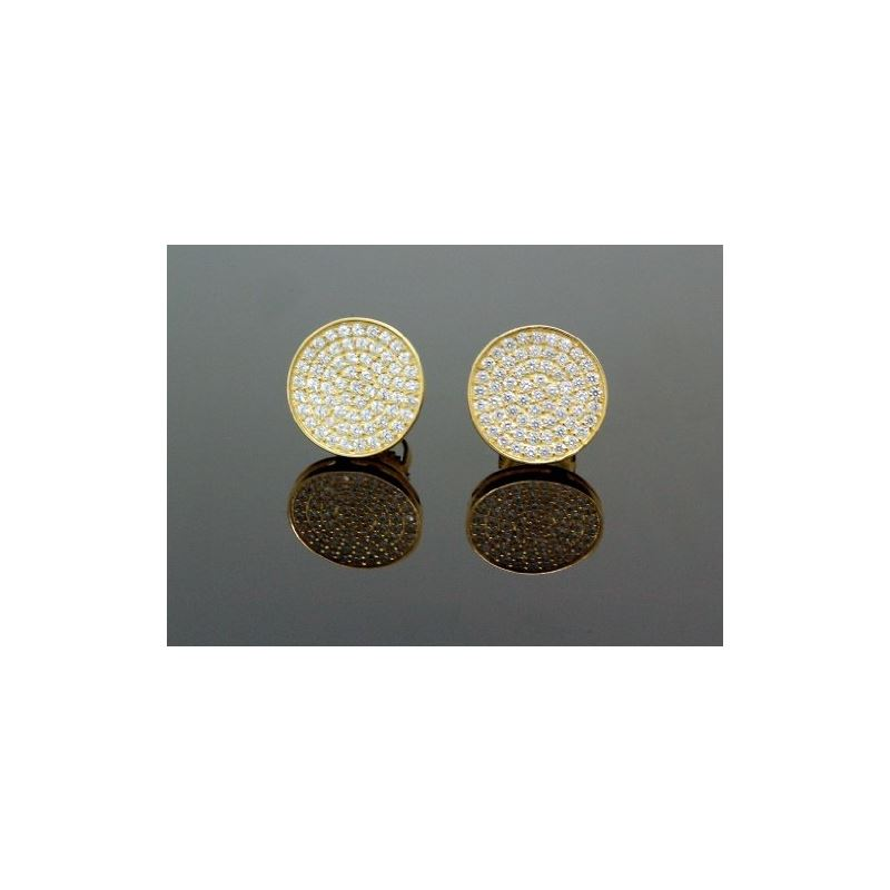 .925 Sterling Silver Yellow Circle White 58819 1