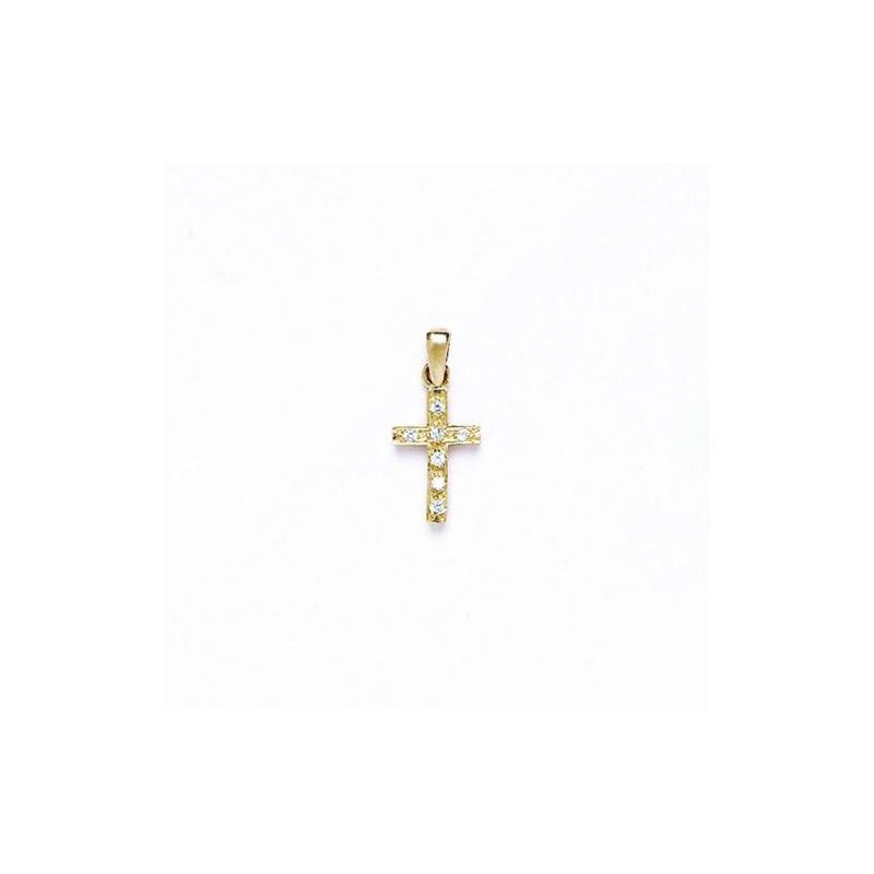 14K Gold Cross Pendant CZ P40 63492 1